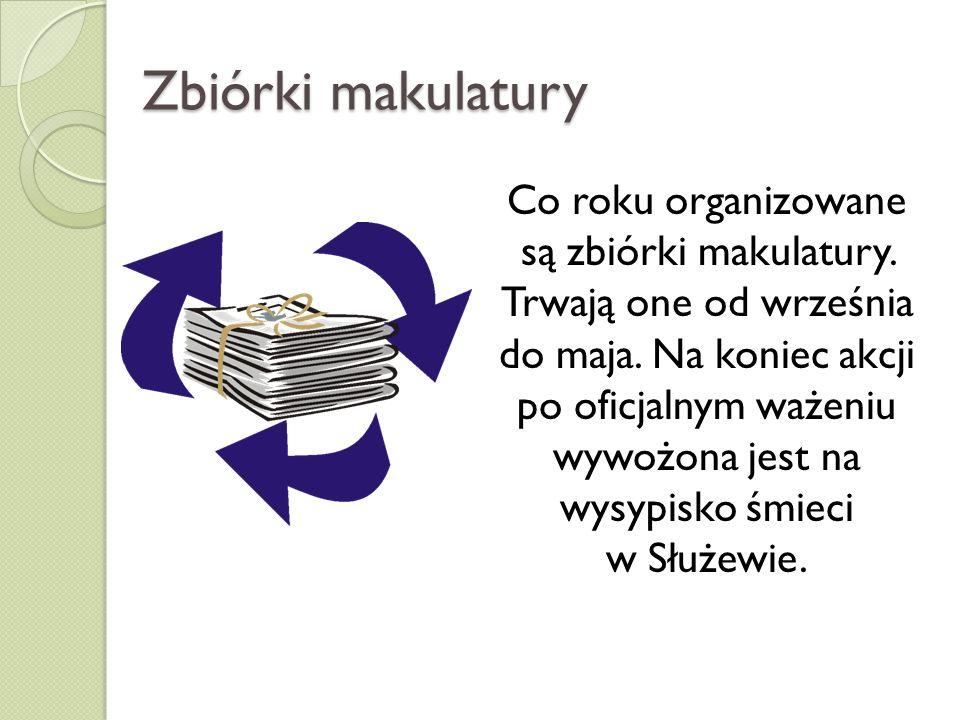 Zbiórki makulatury Co roku organizowane są zbiórki makulatury. Trwają one od września do maja. Na koniec akcji po oficjalnym ważeniu wywożona jest na