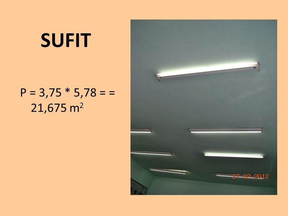SUFIT P = 3,75 * 5,78 = = 21,675 m 2