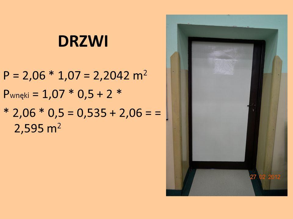 DRZWI P = 2,06 * 1,07 = 2,2042 m 2 P wnęki = 1,07 * 0,5 + 2 * * 2,06 * 0,5 = 0,535 + 2,06 = = 2,595 m 2