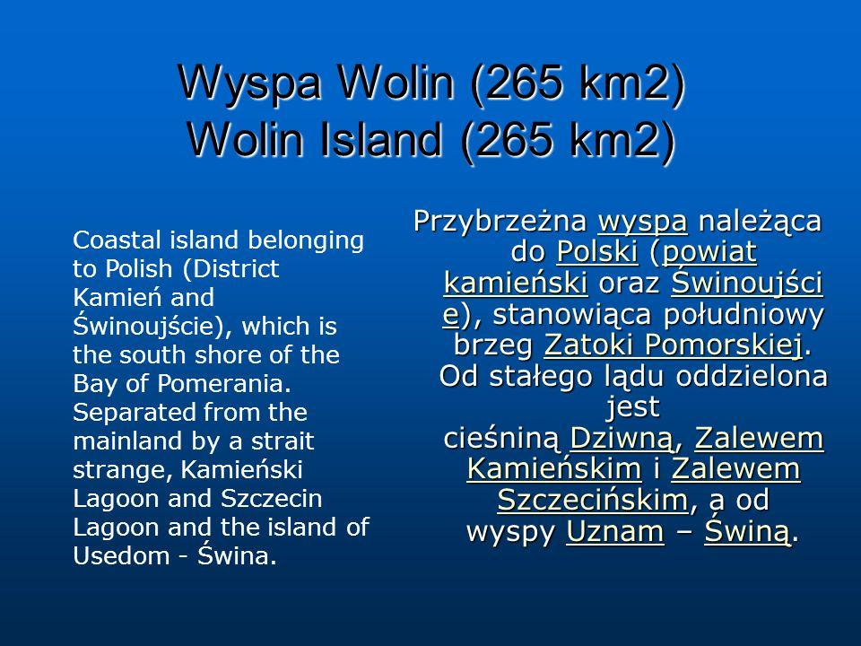 Wyspa Wolin (265 km2) Wolin Island (265 km2) Przybrzeżna wyspa należąca do Polski (powiat kamieński oraz Świnoujści e), stanowiąca południowy brzeg Za