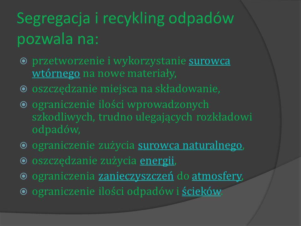 Segregacja i recykling odpadów pozwala na: przetworzenie i wykorzystanie surowca wtórnego na nowe materiały,surowca wtórnego oszczędzanie miejsca na składowanie, ograniczenie ilości wprowadzonych szkodliwych, trudno ulegających rozkładowi odpadów, ograniczenie zużycia surowca naturalnego,surowca naturalnego oszczędzanie zużycia energii,energii ograniczenia zanieczyszczeń do atmosfery,zanieczyszczeńatmosfery ograniczenie ilości odpadów i ścieków.ścieków