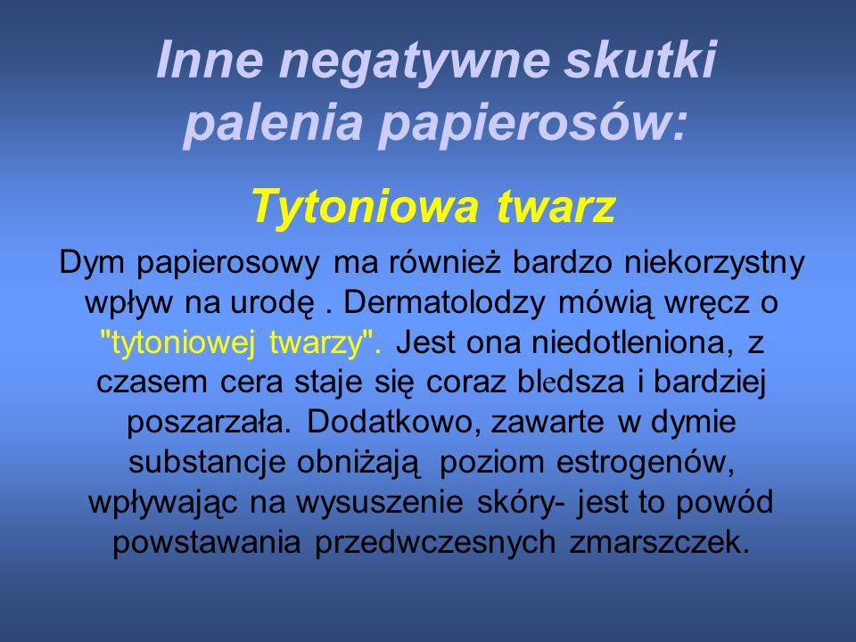 Co Grozi Palaczowi ???? Udary mózgu Rozedma płuc, Rak płuc Choroby serca, układu krwionośnego Nowotwory nerek Mniejsza potencja seksualna i płodność N