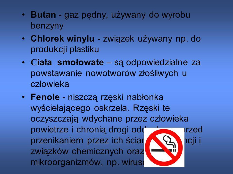 Składniki dymu tytoniowego: Aceton - rozpuszczalnik, składnik farb i lakierów Amoniak - stosowany w chłodnictwie, składnik nawozów mineralnych Arsen -