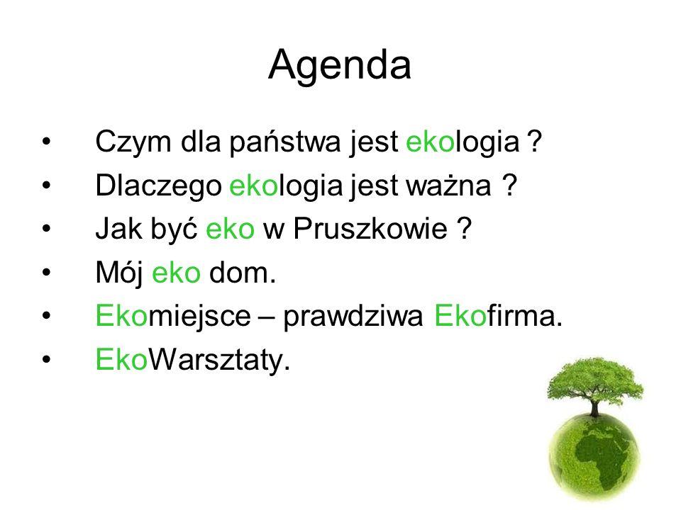 Agenda Czym dla państwa jest ekologia ? Dlaczego ekologia jest ważna ? Jak być eko w Pruszkowie ? Mój eko dom. Ekomiejsce – prawdziwa Ekofirma. EkoWar