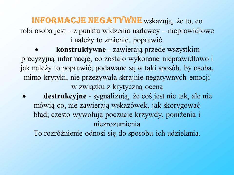 Informacje negatywne wskazują, że to, co robi osoba jest – z punktu widzenia nadawcy – nieprawidłowe i należy to zmienić, poprawić. konstruktywne - za