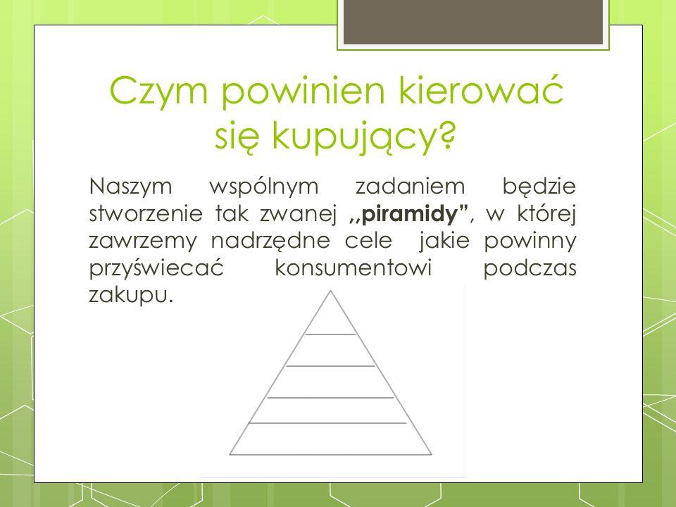 Czym powinien kierować się kupujący? Naszym wspólnym zadaniem będzie stworzenie tak zwanej,,piramidy, w której zawrzemy nadrzędne cele jakie powinny p