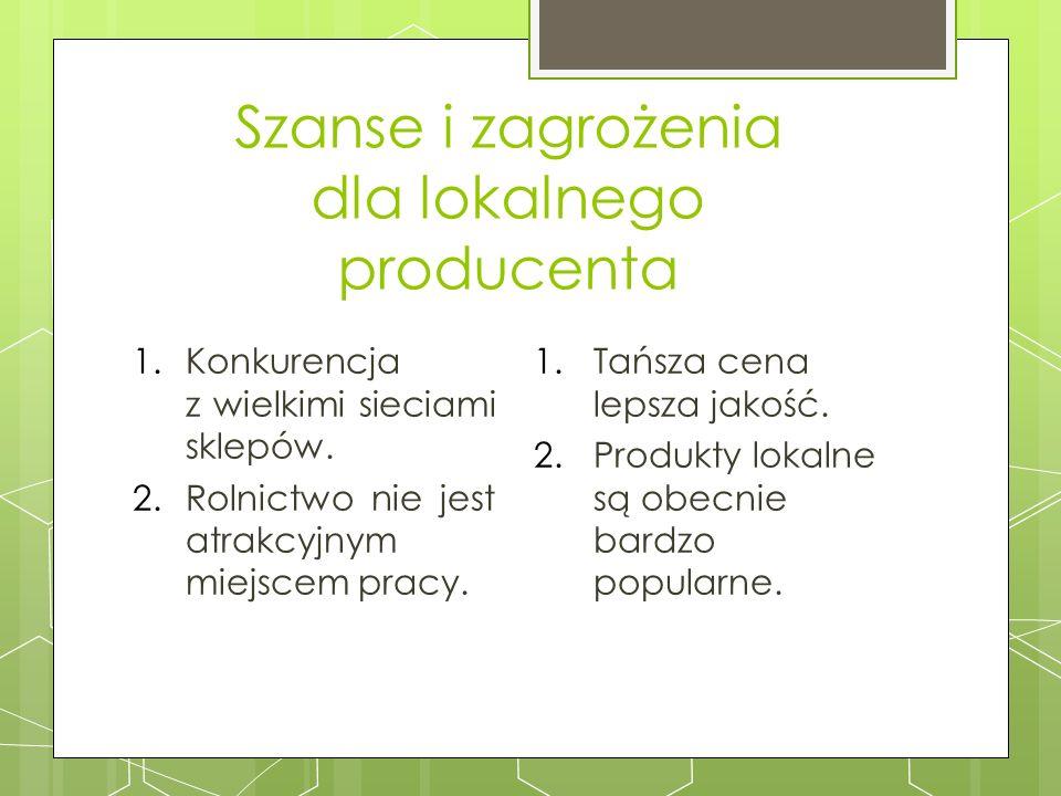 Szanse i zagrożenia dla lokalnego producenta 1.Konkurencja z wielkimi sieciami sklepów. 2.Rolnictwo nie jest atrakcyjnym miejscem pracy. 1.Tańsza cena