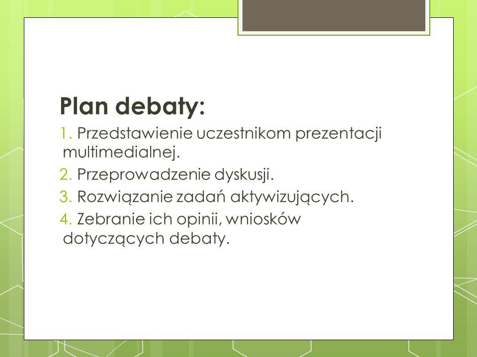 Plan debaty: 1.Przedstawienie uczestnikom prezentacji multimedialnej. 2.Przeprowadzenie dyskusji. 3.Rozwiązanie zadań aktywizujących. 4.Zebranie ich o