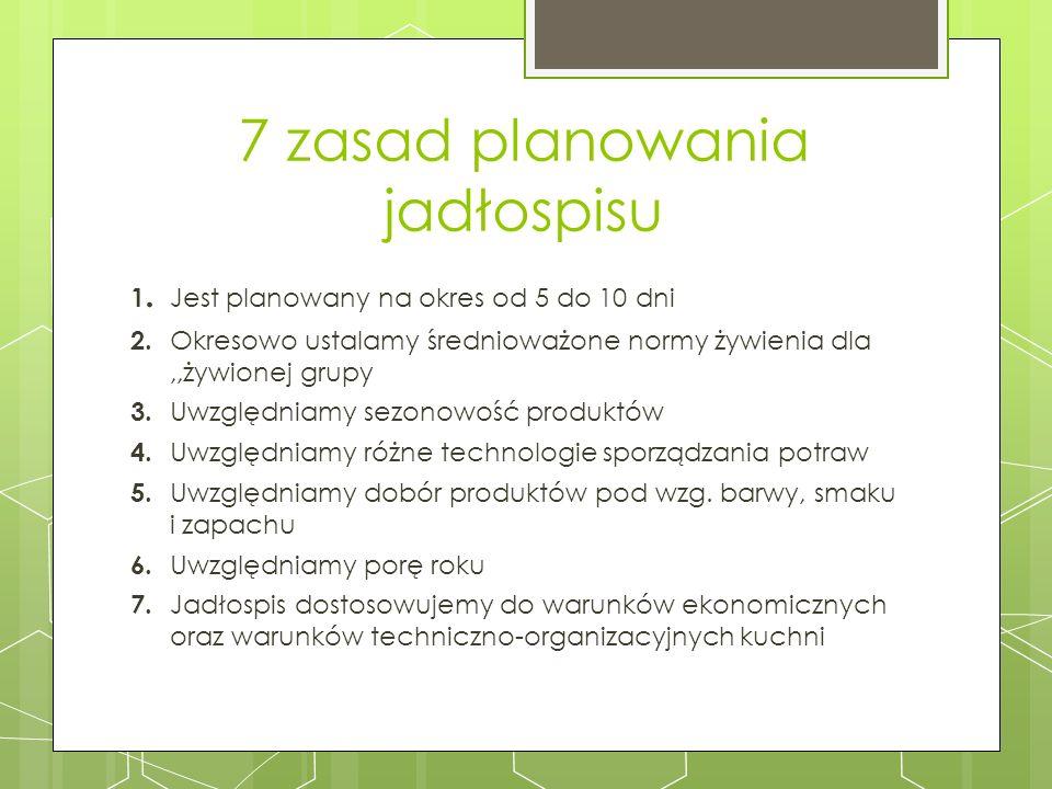 7 zasad planowania jadłospisu 1. Jest planowany na okres od 5 do 10 dni 2. Okresowo ustalamy średnioważone normy żywienia dla,,żywionej grupy 3. Uwzgl