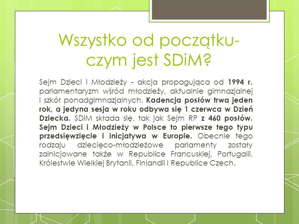 Cele Sejmu Dzieci i Młodzieży Celem projektu edukacyjnego, a tym samym rekrutacji do Sejmu Dzieci i Młodzieży, jest zaangażowanie uczniów i uczennic w działania na rzecz swojej szkoły, swojego najbliższego otoczenia oraz zwiększenie wiedzy na temat dotyczący danej edycji Sejmu