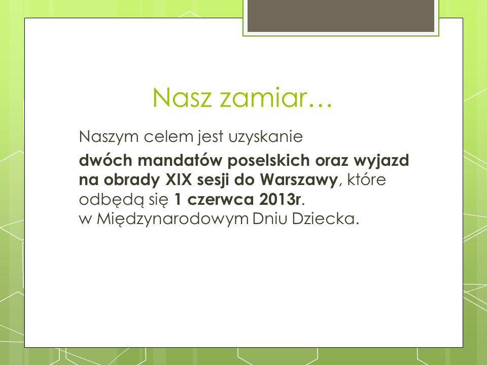 Nasz zamiar… Naszym celem jest uzyskanie dwóch mandatów poselskich oraz wyjazd na obrady XIX sesji do Warszawy, które odbędą się 1 czerwca 2013r. w Mi