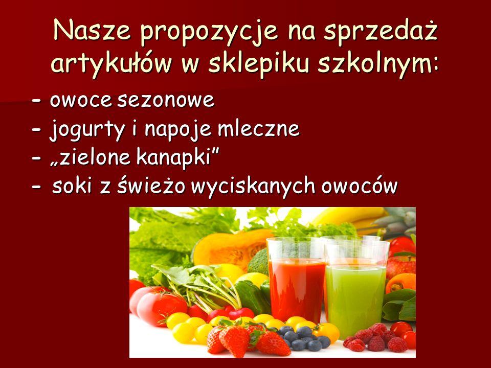 Nasze propozycje na sprzedaż artykułów w sklepiku szkolnym: - owoce sezonowe - jogurty i napoje mleczne - zielone kanapki - soki z świeżo wyciskanych