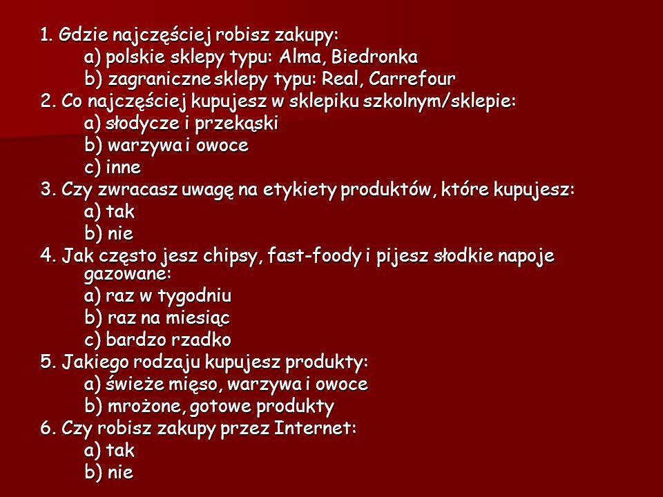 1. Gdzie najczęściej robisz zakupy: a) polskie sklepy typu: Alma, Biedronka b) zagraniczne sklepy typu: Real, Carrefour 2. Co najczęściej kupujesz w s