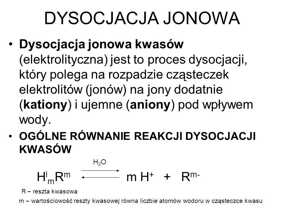 DYSOCJACJA JONOWA Dysocjacja jonowa kwasów (elektrolityczna) jest to proces dysocjacji, który polega na rozpadzie cząsteczek elektrolitów (jonów) na j