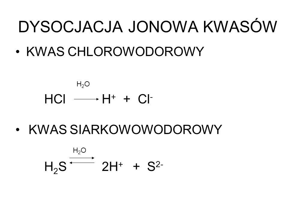 DYSOCJACJA JONOWA KWASÓW KWAS CHLOROWODOROWY H 2 O HCl H + + Cl - KWAS SIARKOWOWODOROWY H 2 O H 2 S2H + + S 2-