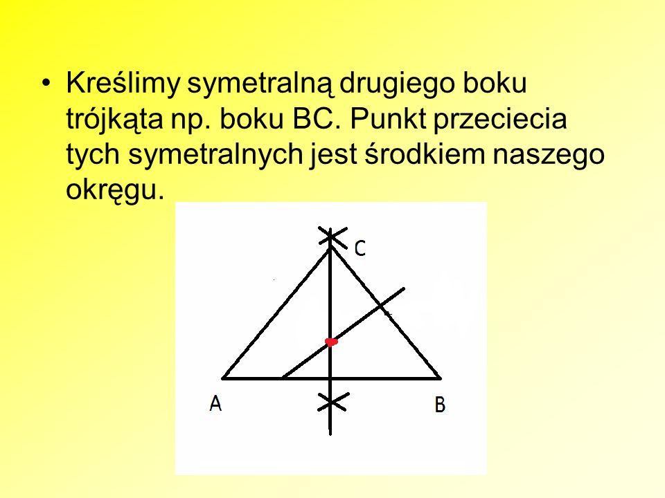 Konstrukcja okręgu wpisanego w trójkąt ABC.Konstruujemy dwusieczne dwóch wybranych kątów trójkąta.