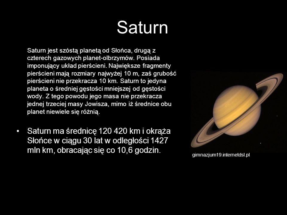 Saturn Saturn jest szóstą planetą od Słońca, drugą z czterech gazowych planet-olbrzymów. Posiada imponujący układ pierścieni. Największe fragmenty pie