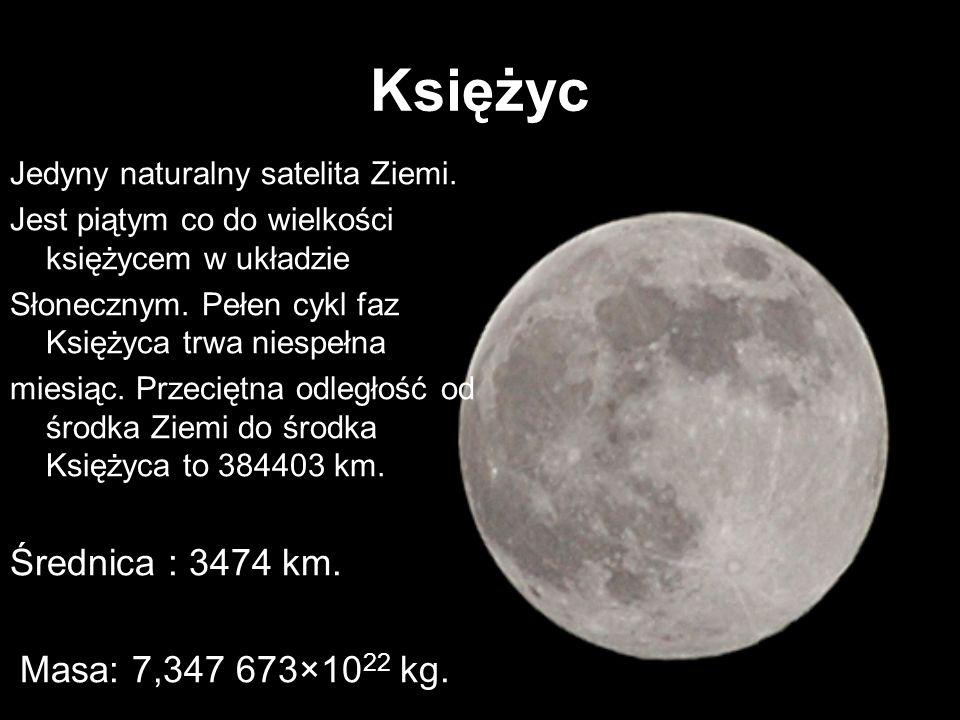 Księżyc Jedyny naturalny satelita Ziemi. Jest piątym co do wielkości księżycem w układzie Słonecznym. Pełen cykl faz Księżyca trwa niespełna miesiąc.