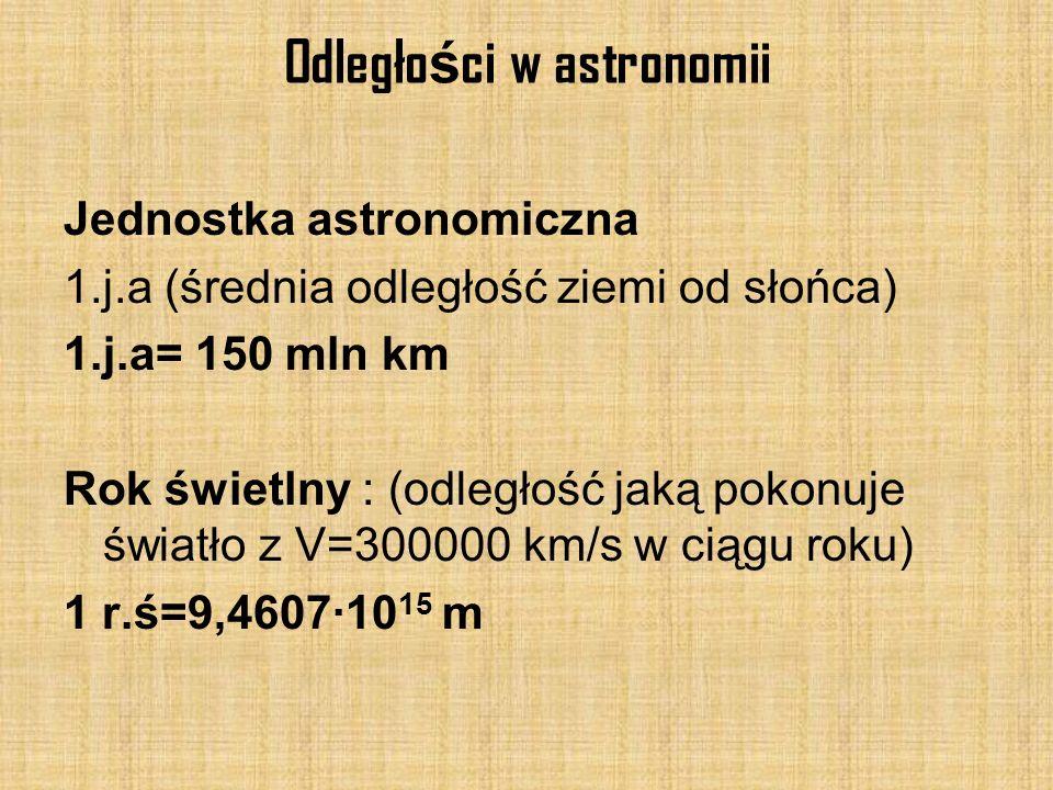 Odległo ś ci w astronomii Jednostka astronomiczna 1.j.a (średnia odległość ziemi od słońca) 1.j.a= 150 mln km Rok świetlny : (odległość jaką pokonuje