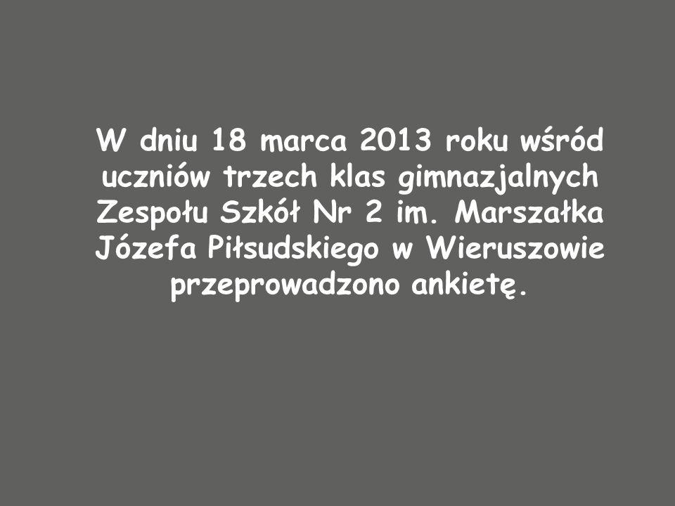 W dniu 18 marca 2013 roku wśród uczniów trzech klas gimnazjalnych Zespołu Szkół Nr 2 im. Marszałka Józefa Piłsudskiego w Wieruszowie przeprowadzono an
