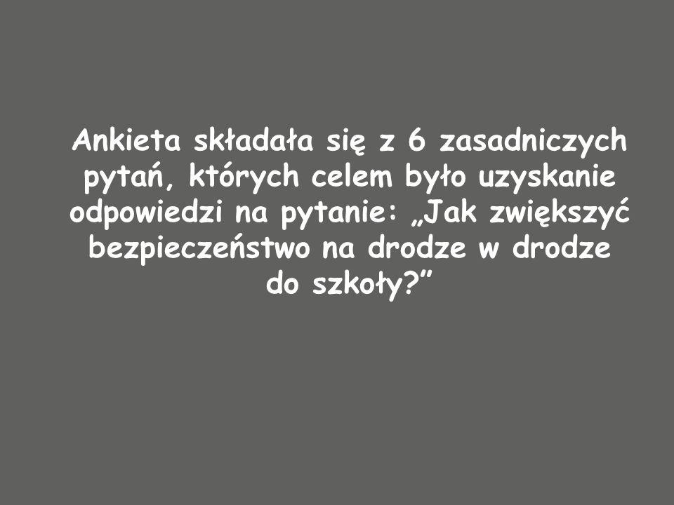 Ankieta składała się z 6 zasadniczych pytań, których celem było uzyskanie odpowiedzi na pytanie: Jak zwiększyć bezpieczeństwo na drodze w drodze do sz