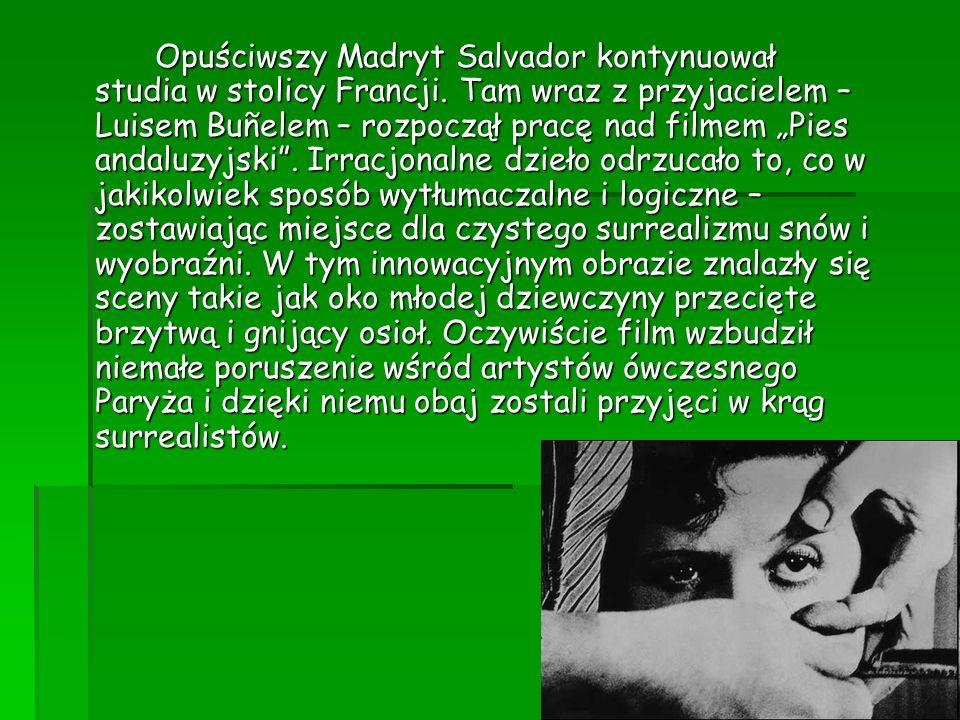 Dali Rozpoczął pracę nad portretem znanego malarza – Paula Eluarda, poznał też jego żonę Galę, która, gdy skończył portret, już nią nie była (żoną, nie Galą).