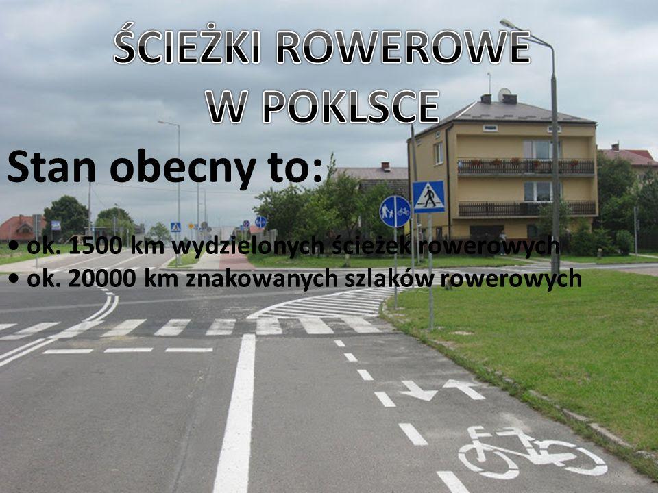 Stan obecny to: ok. 1500 km wydzielonych ścieżek rowerowych ok. 20000 km znakowanych szlaków rowerowych