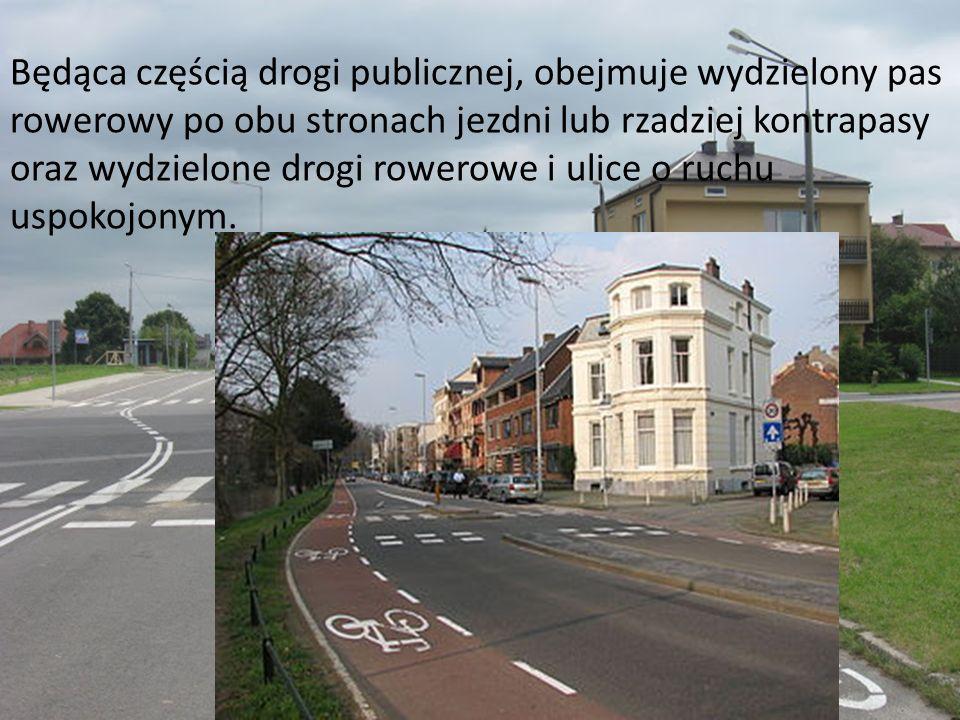 Będąca częścią drogi publicznej, obejmuje wydzielony pas rowerowy po obu stronach jezdni lub rzadziej kontrapasy oraz wydzielone drogi rowerowe i ulic