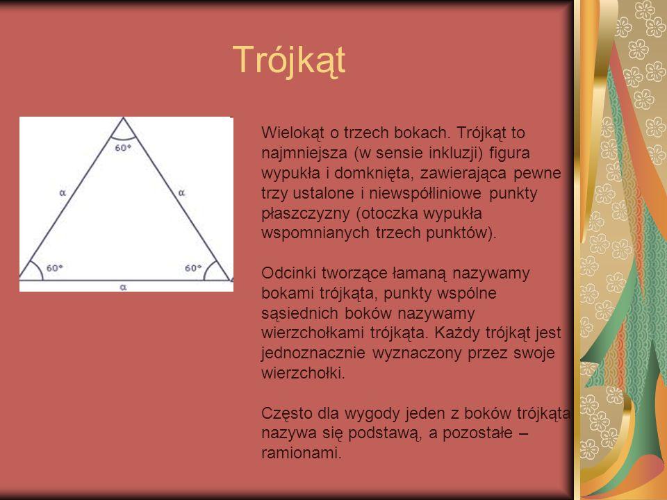 Trójkąt Wielokąt o trzech bokach. Trójkąt to najmniejsza (w sensie inkluzji) figura wypukła i domknięta, zawierająca pewne trzy ustalone i niewspółlin