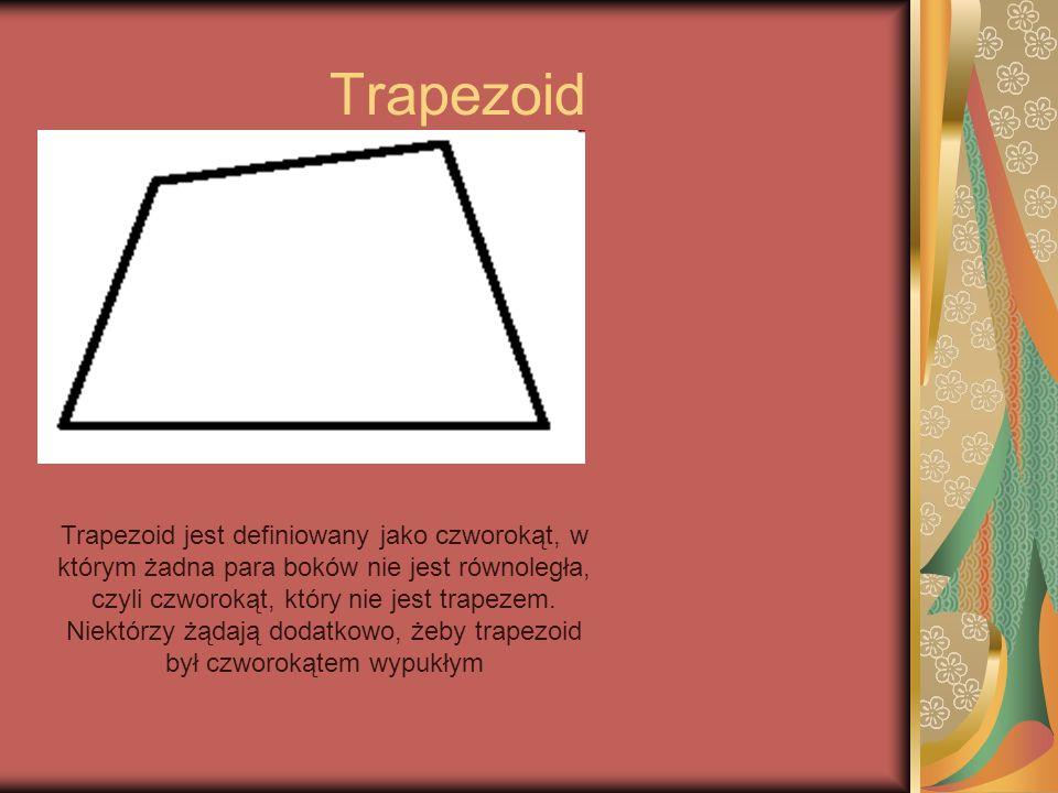 Trapezoid Trapezoid jest definiowany jako czworokąt, w którym żadna para boków nie jest równoległa, czyli czworokąt, który nie jest trapezem. Niektórz