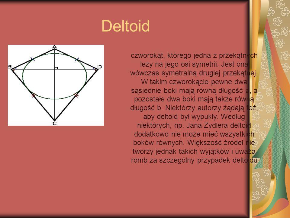 Deltoid czworokąt, którego jedna z przekątnych leży na jego osi symetrii. Jest ona wówczas symetralną drugiej przekątnej. W takim czworokącie pewne dw