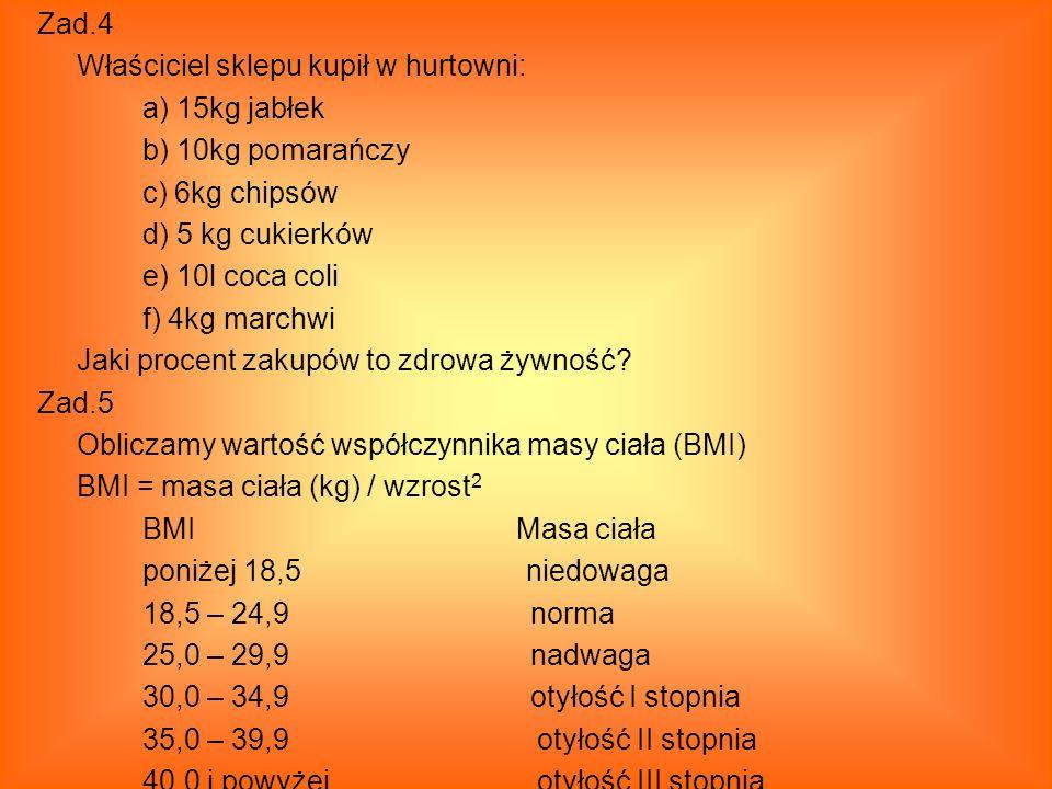 Zad.4 Właściciel sklepu kupił w hurtowni: a) 15kg jabłek b) 10kg pomarańczy c) 6kg chipsów d) 5 kg cukierków e) 10l coca coli f) 4kg marchwi Jaki proc