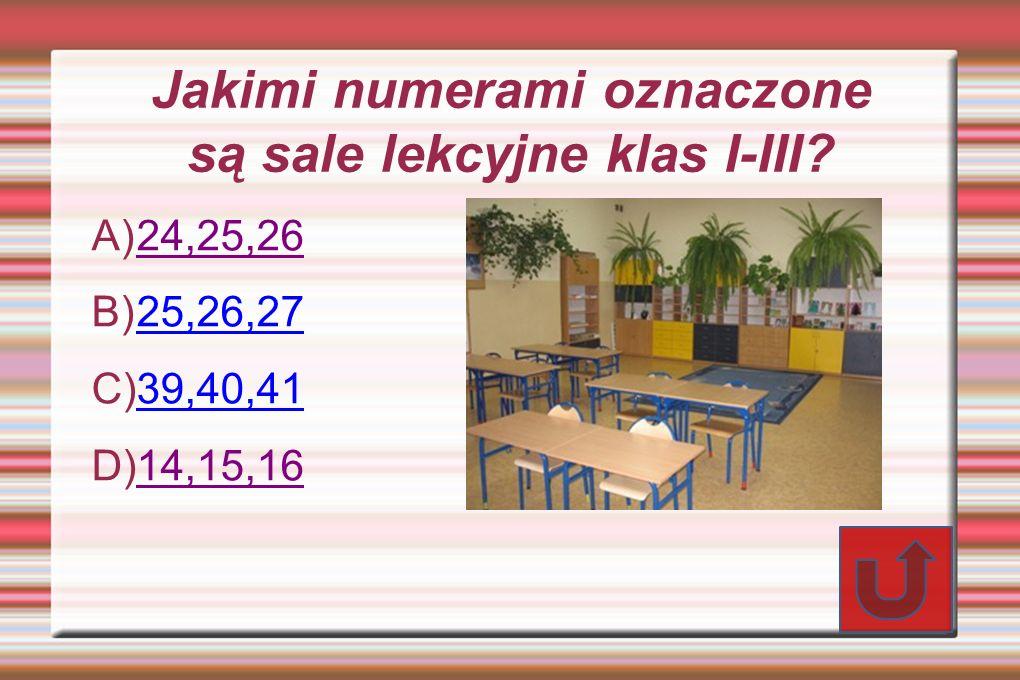 Jakimi numerami oznaczone są sale lekcyjne klas I-III.