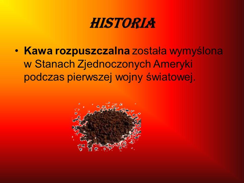 Historia Kawa rozpuszczalna została wymyślona w Stanach Zjednoczonych Ameryki podczas pierwszej wojny światowej.