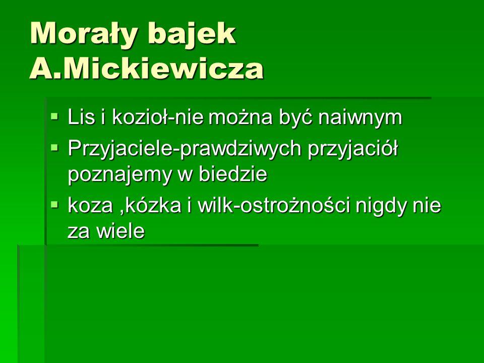 Morały bajek A.Mickiewicza Lis i kozioł-nie można być naiwnym Lis i kozioł-nie można być naiwnym Przyjaciele-prawdziwych przyjaciół poznajemy w biedzi