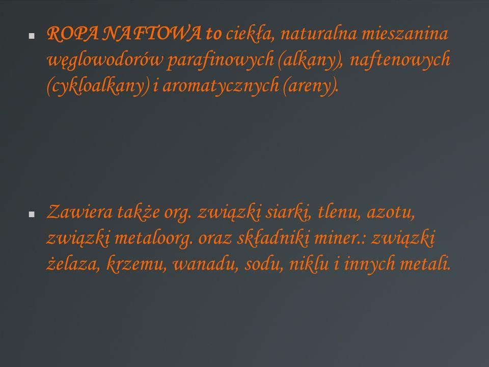 ROPA NAFTOWA to ciekła, naturalna mieszanina węglowodorów parafinowych (alkany), naftenowych (cykloalkany) i aromatycznych (areny). Zawiera także org.
