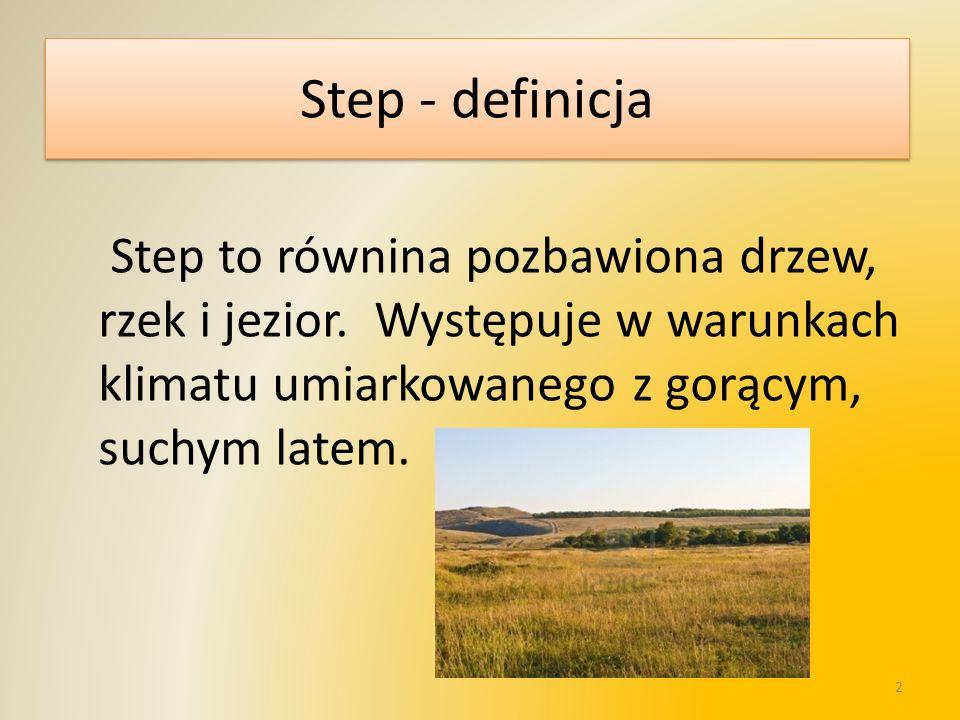 Step - definicja Step to równina pozbawiona drzew, rzek i jezior. Występuje w warunkach klimatu umiarkowanego z gorącym, suchym latem. 2