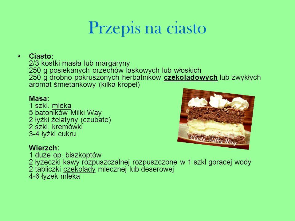 Przepis na ciasto Ciasto: 2/3 kostki masła lub margaryny 250 g posiekanych orzechów laskowych lub włoskich 250 g drobno pokruszonych herbatników czeko