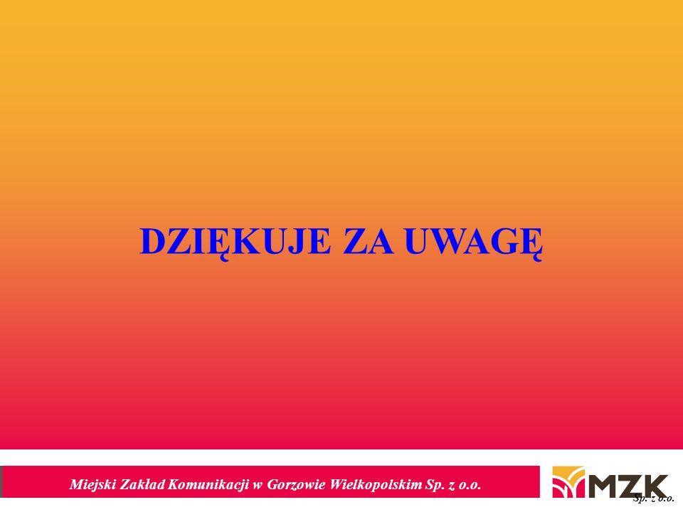 Miejski Zakład Komunikacji w Gorzowie Wielkopolskim Sp. z o.o. DZIĘKUJE ZA UWAGĘ Sp. z o.o.