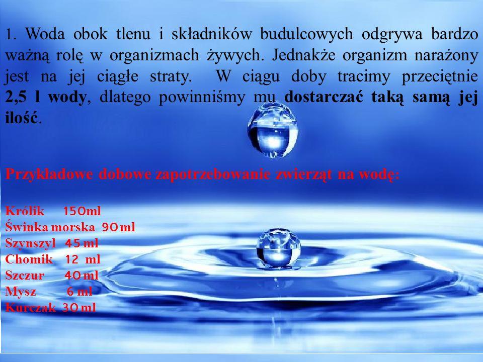 1. Woda obok tlenu i składników budulcowych odgrywa bardzo ważną rolę w organizmach żywych. Jednakże organizm narażony jest na jej ciągłe straty. W ci