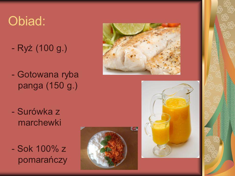 Podwieczorek: - Sałatka owocowa: - kiwi ( 50 g.) - jabłko ( 50 g.) - truskawka ( 100 g.) - pomarańcza ( 70 g.) - grejpfrut - gruszka - 2 łyżki jogurtu naturalnego - Koktajl Owocowy Raj