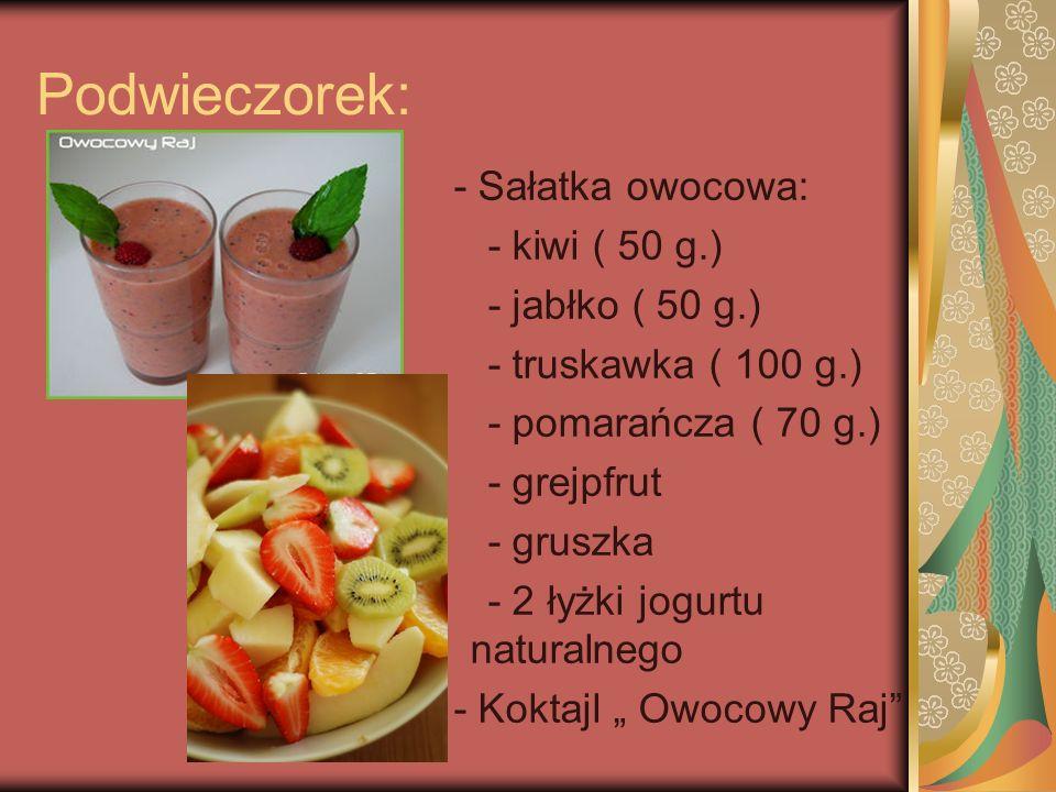 Kolacja: - Chleb razowy ( 3 kawałki) - Masło ( 20 g) - Jajko gotowane na twardo( 2 sztuki) - Wędlina (40 g.) - Warzywa ( sałata pomidor, ogórek, papryka, cebula oraz szczypiorek) - Sok 100 % z marchwi