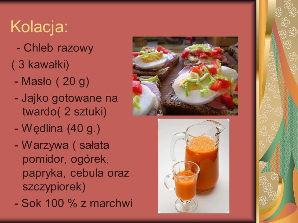 II śniadanie - Bułka razowa - Masło ( 15 g.) - Sałata, ogórek, pomidor - Owoc ( jabłko lub gruszka)