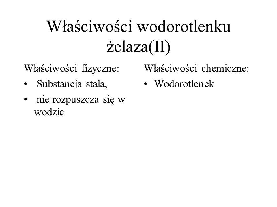 Właściwości wodorotlenku żelaza(II) Właściwości fizyczne: Substancja stała, nie rozpuszcza się w wodzie Właściwości chemiczne: Wodorotlenek
