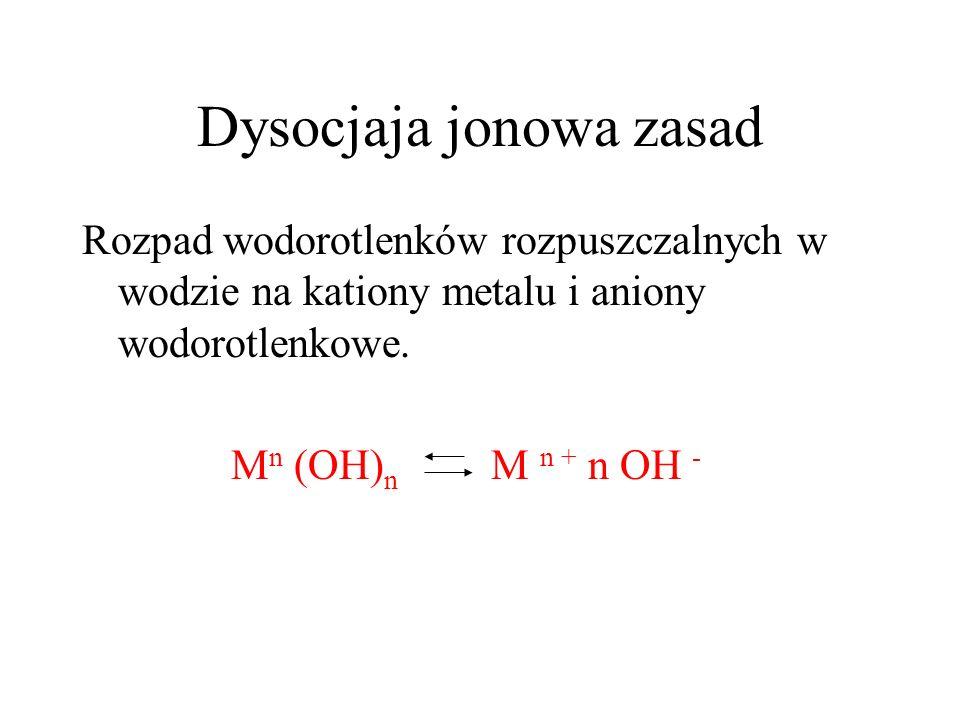 Dysocjaja jonowa zasad Rozpad wodorotlenków rozpuszczalnych w wodzie na kationy metalu i aniony wodorotlenkowe. M n (OH) n M n + n OH -