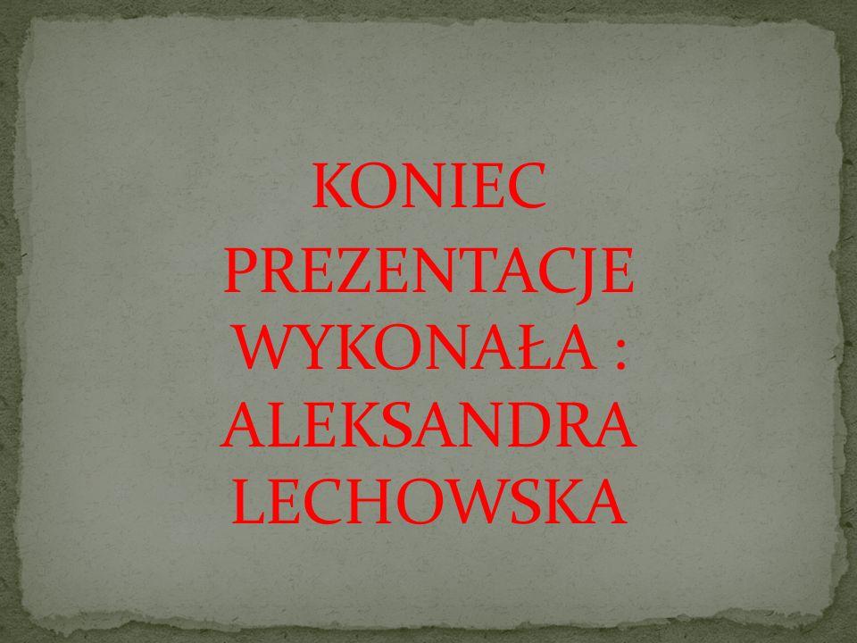 KONIEC PREZENTACJE WYKONAŁA : ALEKSANDRA LECHOWSKA