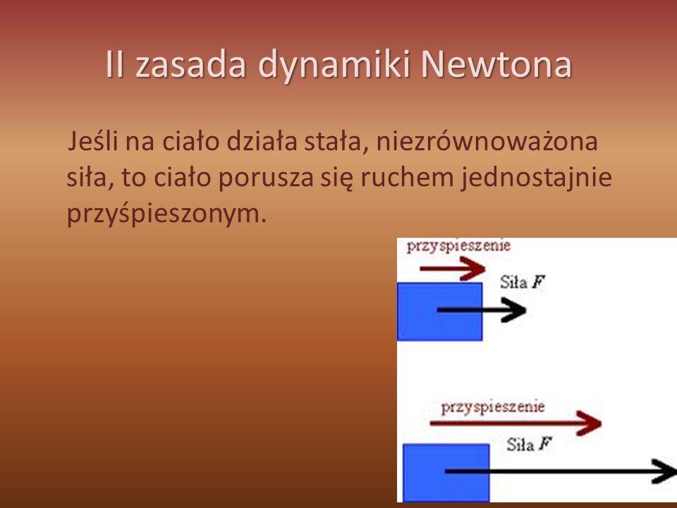 III zasada dynamiki Newtona Jeżeli ciało A działa pewną siłą na ciało B, to ciało B działa na ciało A siłą o tej samej wartości, tym samym kierunku lecz przeciwnym zwrocie.