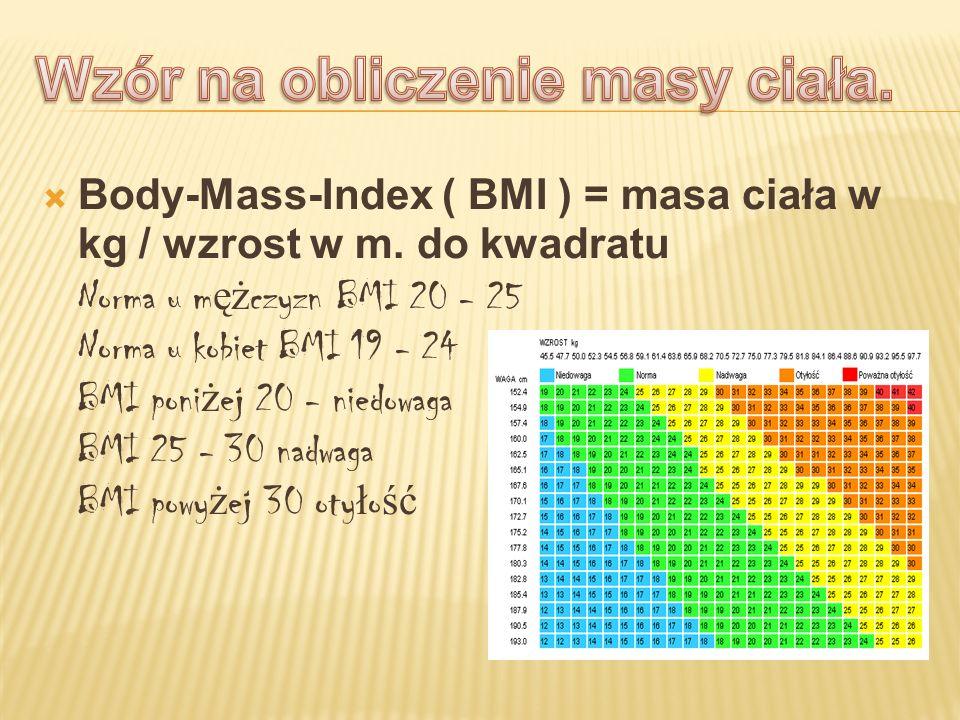 Body-Mass-Index ( BMI ) = masa ciała w kg / wzrost w m. do kwadratu Norma u m ęż czyzn BMI 20 - 25 Norma u kobiet BMI 19 - 24 BMI poni ż ej 20 - niedo