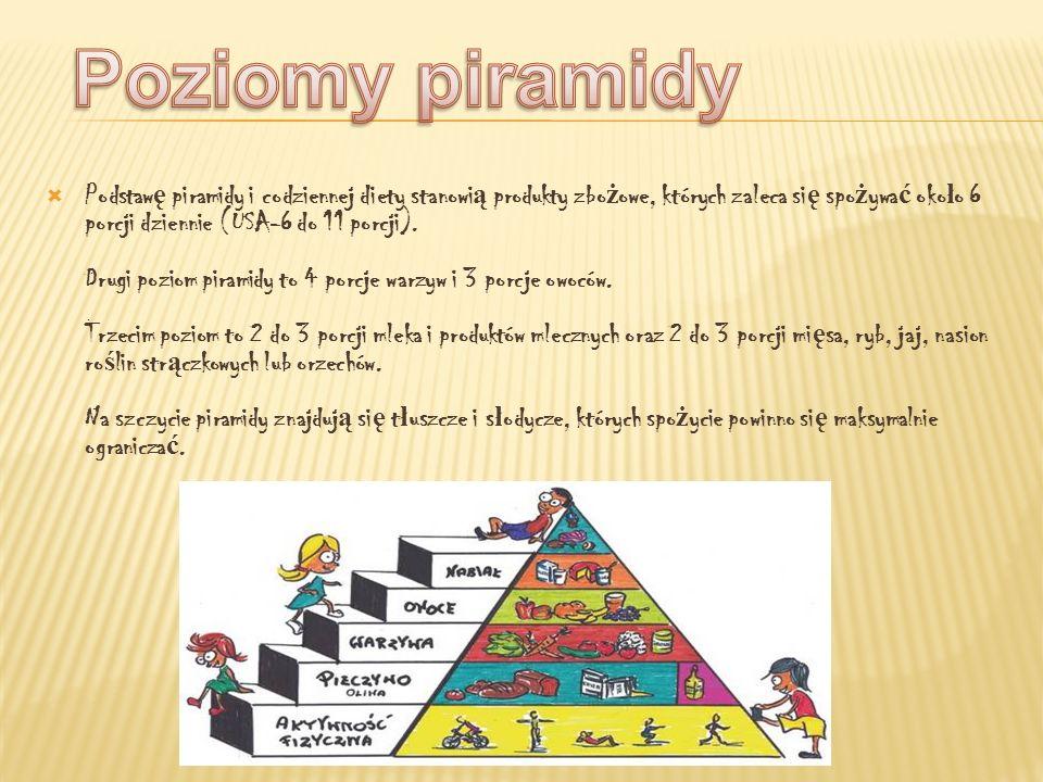 Podstaw ę piramidy i codziennej diety stanowi ą produkty zbo ż owe, których zaleca si ę spo ż ywa ć oko ł o 6 porcji dziennie (USA-6 do 11 porcji). Dr