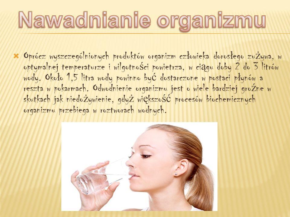 Oprócz wyszczególnionych produktów organizm cz ł owieka doros ł ego zu ż ywa, w optymalnej temperaturze i wilgotno ś ci powietrza, w ci ą gu doby 2 do